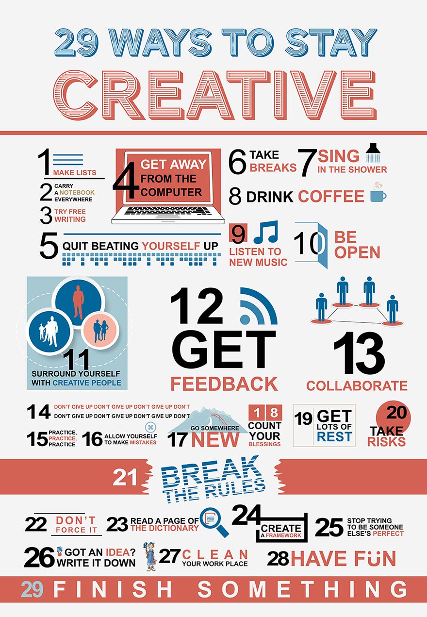 29 ways to stay creative by  http://dailyinfographic.com/