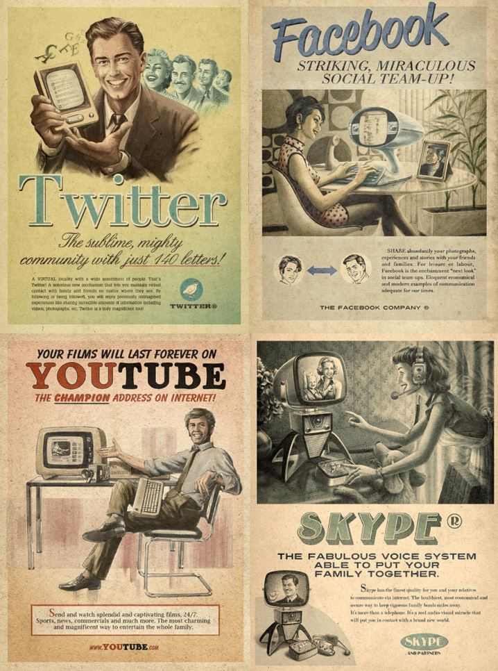 Anuncio vintage de redes sociales la servilleta el for Imagenes retro vintage