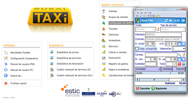Captura aplicación Rural Taxi