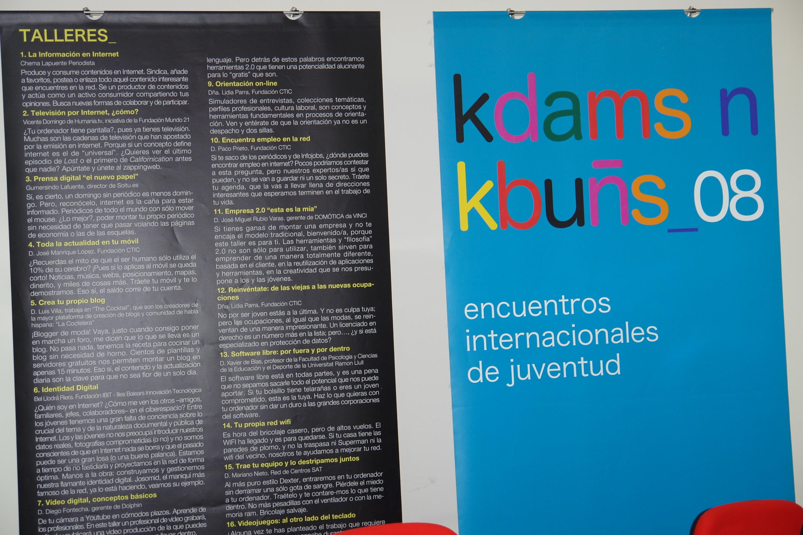 Cartel con los Talleres TIC - Kdams n Kbuns 08 !!!